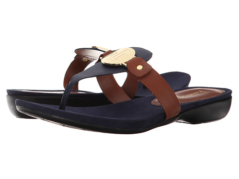 LAUREN by Ralph Lauren - Kalana (Modern Navy/Polo Tan Oiled Nappa) Women's Sandals