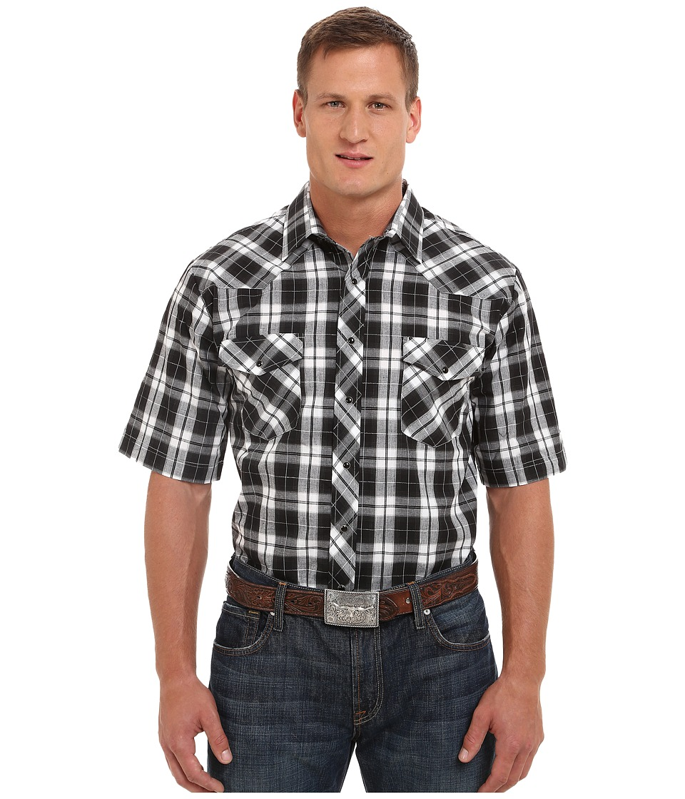Roper - Big Tall 9670 Big Black White Plaid w/ Silver Lining (Black) Men's Clothing