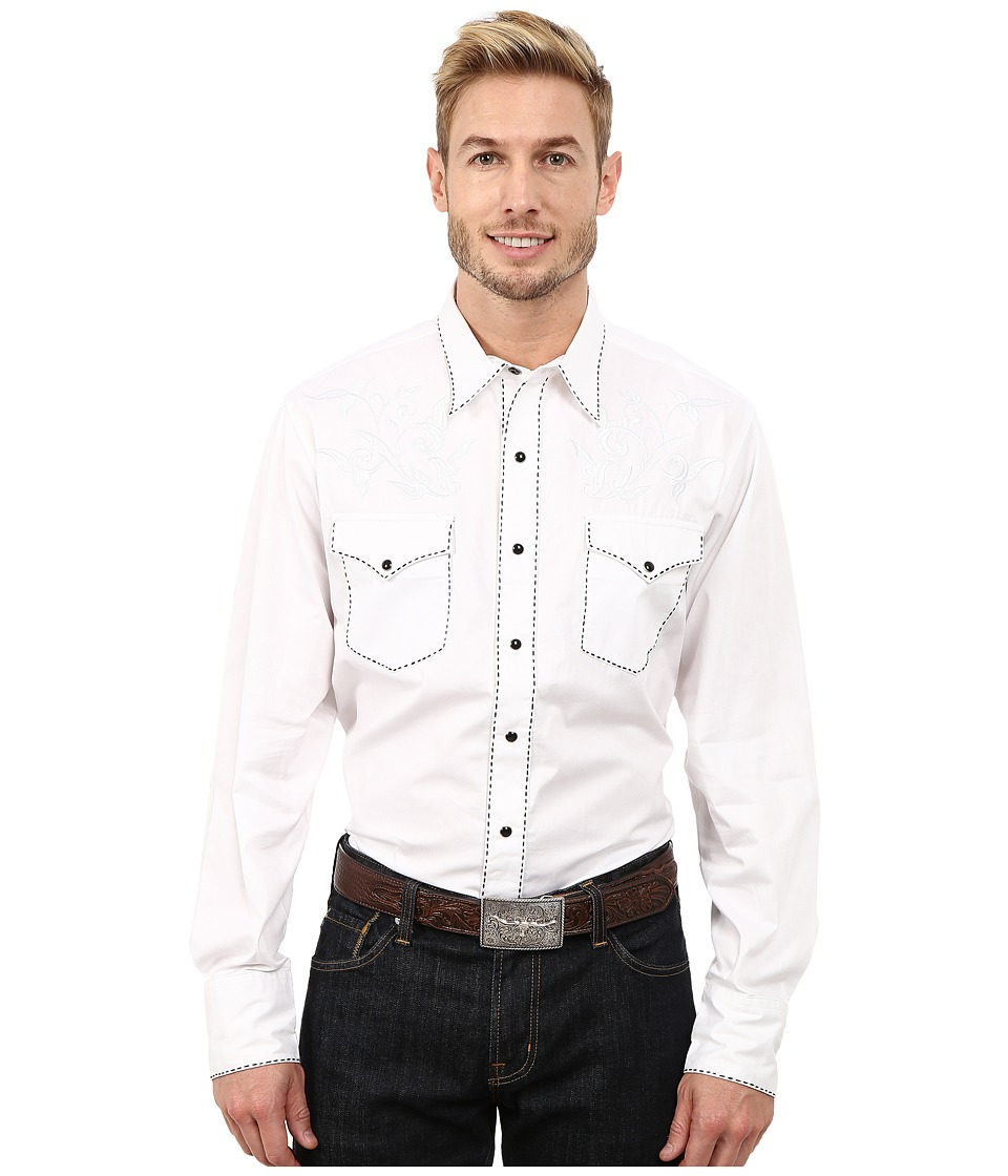 Roper - 100 Contrast Twill w/ Tonal Victorian Embroidery (White) Men's Clothing