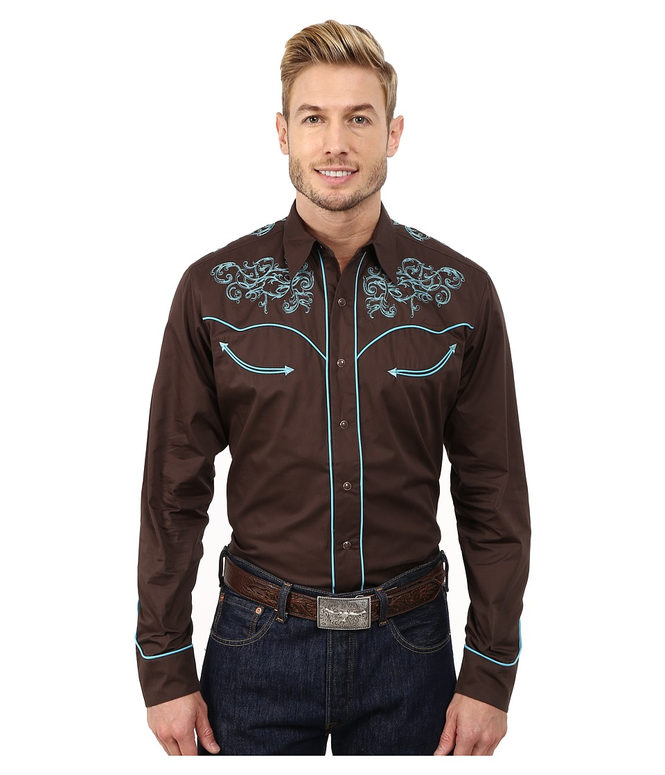 Roper - 100 Contrast Twill w/ Baroque Curves Embroidery (Brown) Men's Clothing