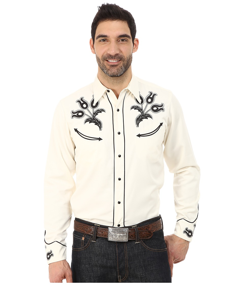 Roper 65P-35C Twill w- Vintage Leaf Embroidery 9630 White Mens Clothing