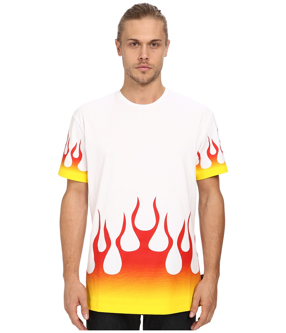 LOVE Moschino - Accented Fire Print T-Shirt (White) Men