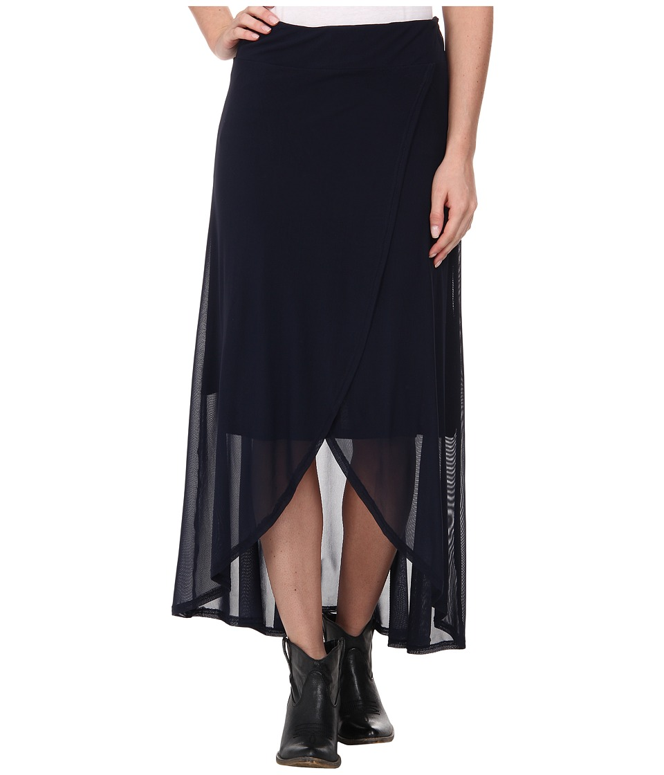 Roper - 9614 Solid Mesh Faux Wrap Skirt (Blue) Women's Skirt