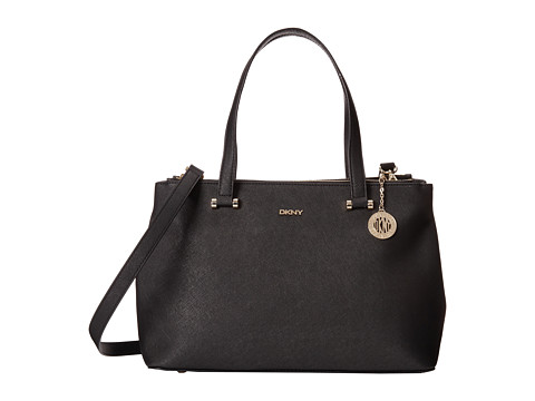 DKNY - Bryant Park - Saffiano Leather Large Double Zip Shopper w/ Det SS (Black) Satchel Handbags