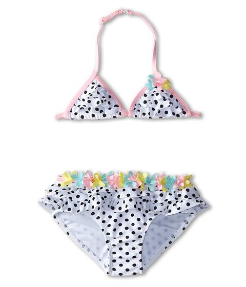 Kate Mack - Poolside Posies Swim Bikini Dots Skirted (Little Kids) (White/Black) Girl
