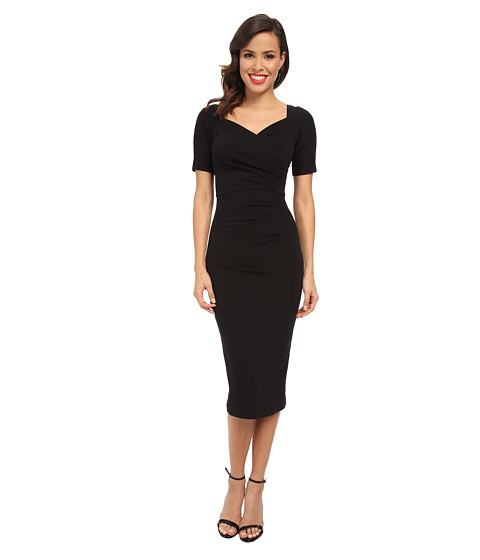 Stop Staring! - 3/4 Sleeve Wrap Dress (Black) Women's Dress