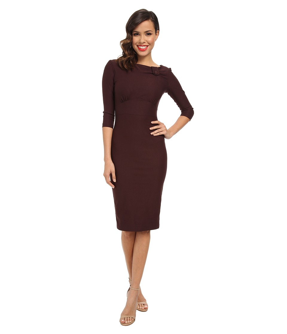 Stop Staring! - Elegant Neck Detail Dress (Choclate) Women's Dress
