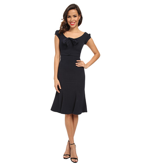 Stop Staring! - Tulip Hem Bow Dress (Navy) Women's Dress