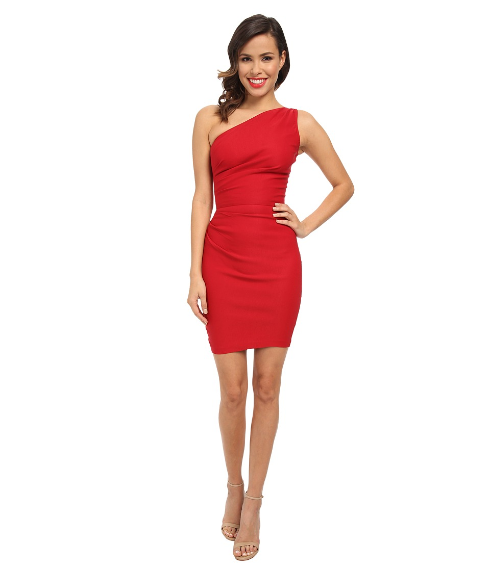 Stop Staring! - One Shoulder Short Dress (Red) Women
