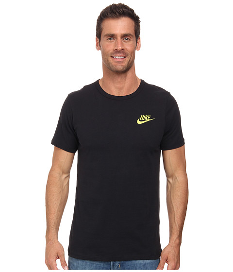 Nike - Embroided Futura Tee (Black/Volt) Men's Short Sleeve Pullover