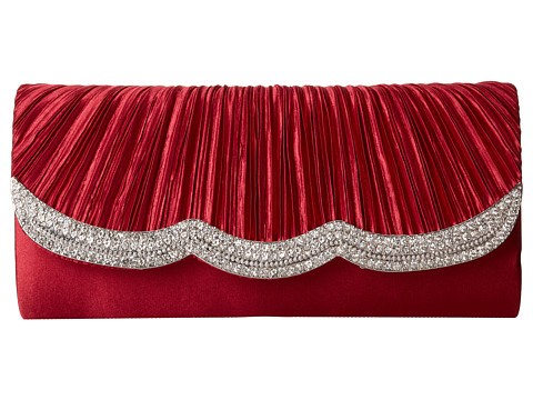Jessica McClintock - Jeweled Scallop Flap Clutch (Wine) Clutch Handbags