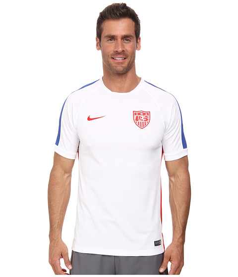 Nike - USA Squad S/S Training Top (White/Game Royal/University Red) Men's Short Sleeve Pullover