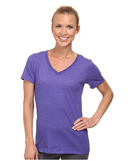 Nike - Dri-FIT Cotton V-Neck Short Sleeve Tee (Light Court Purple Heather/Court Purple) Women
