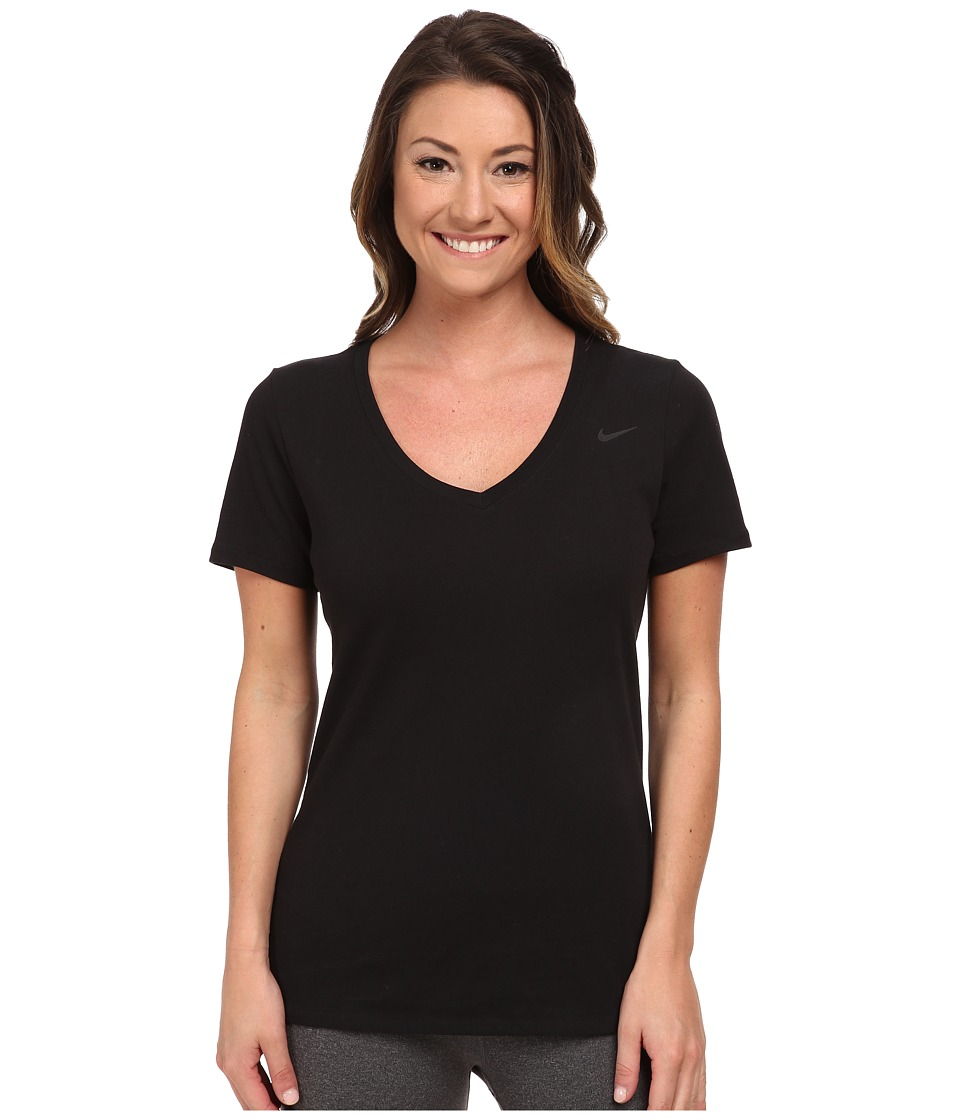 Nike - Dri-FIT Cotton V-Neck Short Sleeve Tee (Black/Black) Women's T Shirt