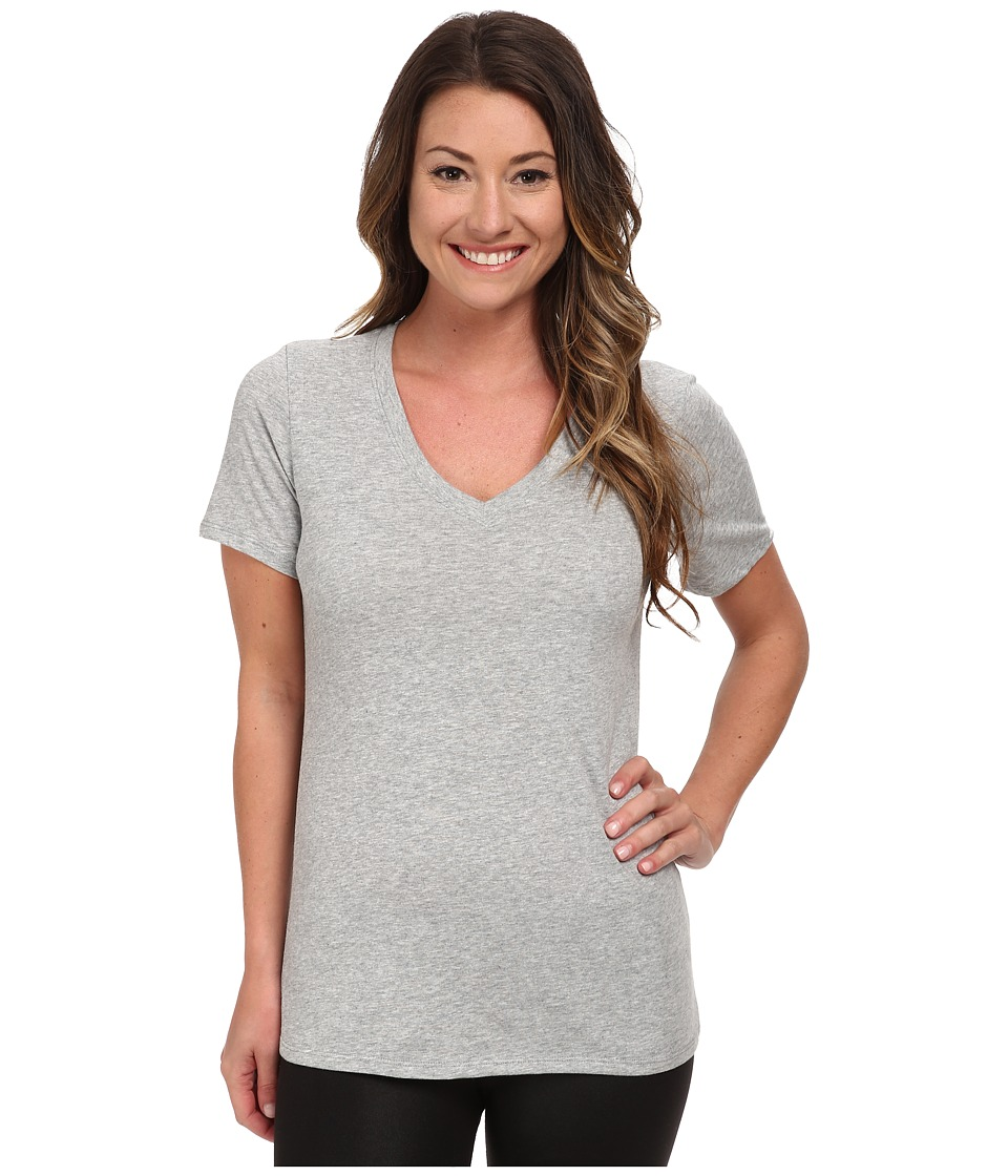 Nike - Dri-FIT Cotton V-Neck Short Sleeve Tee (Dark Grey Heather/Medium Grey) Women's T Shirt
