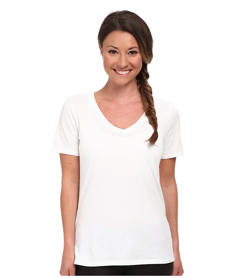 Nike - Dri-FIT Cotton V-Neck Short Sleeve Tee (White/White) Women's T Shirt