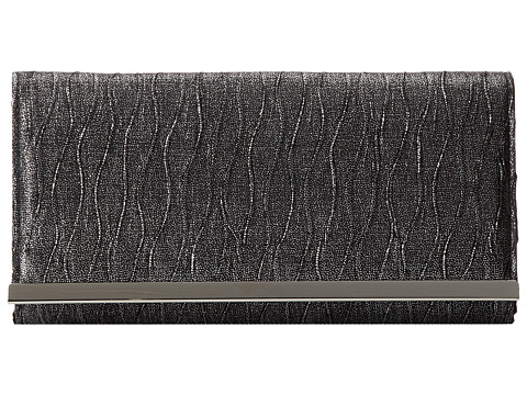Jessica McClintock - Glitter Satin Bar Clutch (Black) Clutch Handbags