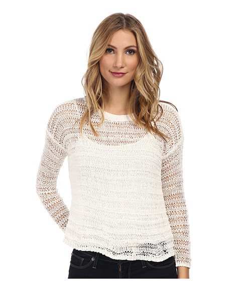 DKNY Jeans - Textured Stripe Tape V-Neck Pullover (White) Women