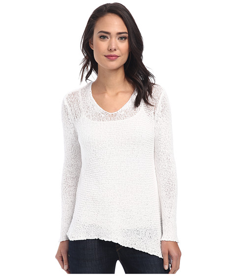 DKNY Jeans - Textured Tape V-Neck Pullover (White) Women