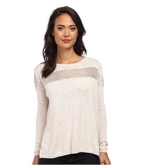 DKNY Jeans - Zip Cold Shoulder Boxy Pullover (Oatmeal Heather) Women