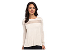 DKNY Jeans Zip Cold Shoulder Boxy Pullover (Oatmeal Heather)