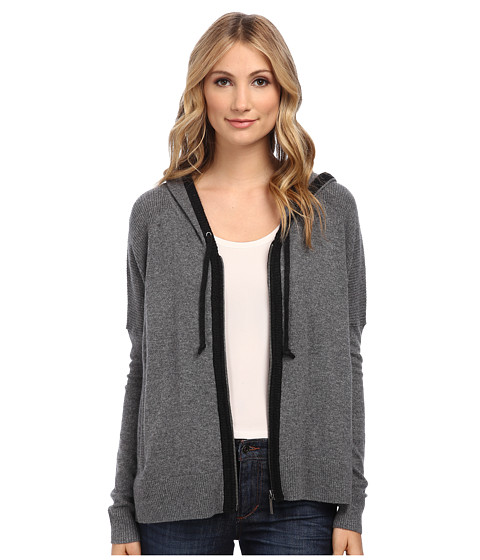 DKNY Jeans - Premium Boxy Zip Hoodie (Charcoal Heather Grey) Women