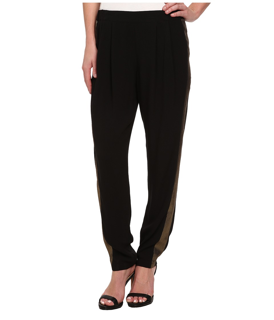 DKNY Jeans - Crepe Track Pant w/ Metallic Racing Stripe (Gold) Women