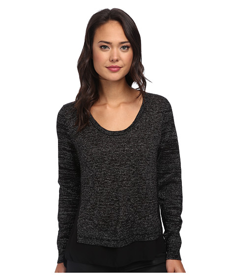 DKNY Jeans - Mix Media V-Neck (Noir) Women's Long Sleeve Pullover