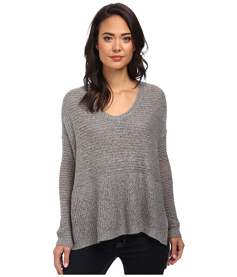 DKNY Jeans - Solid Boyfriend Sweater (Smoke Grey Heather) Women's Sweater