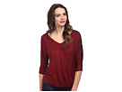 DKNY Jeans Solid Sweater Knit w/ Open Neck and Pleather (Ruby)