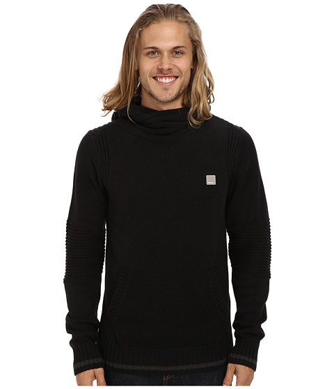 Bench - Crossover Knit Hoodie (Jet Black) Men's Sweater