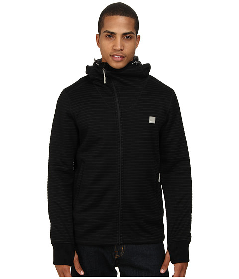 Bench - Waltzup B Zip Thru Hoodie (Jet Black) Men's Sweatshirt