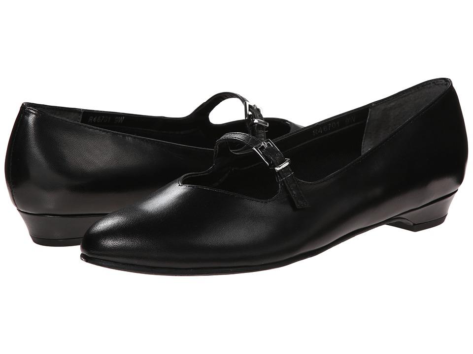Rose Petals - Beth (Black Kid/Silver Buckle) Women's Dress Flat Shoes