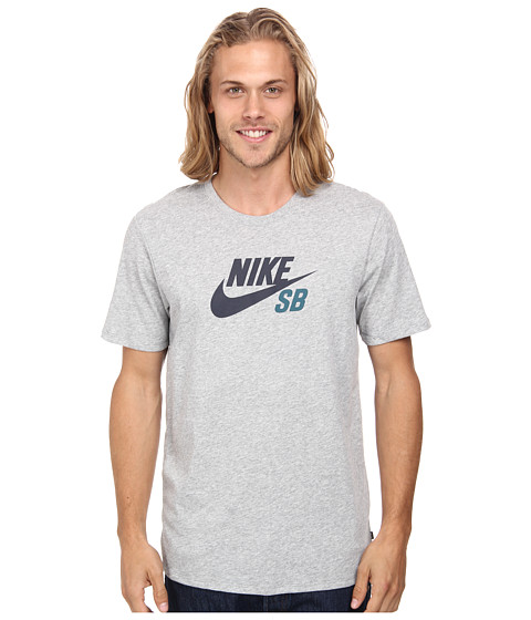 Nike SB - SB Dri-FIT Icon Logo Tee (Dark Grey Heather/Dark Grey Heather/Teal) Men's Short Sleeve Pullover