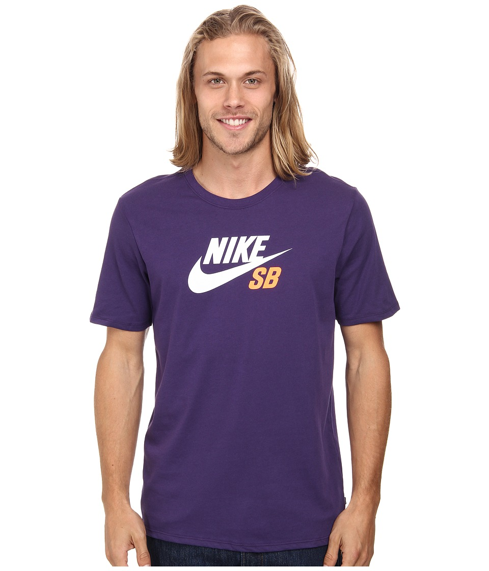 Nike SB - SB Dri-FIT Icon Logo Tee (Ink/Ink/Total Orange) Men's Short Sleeve Pullover