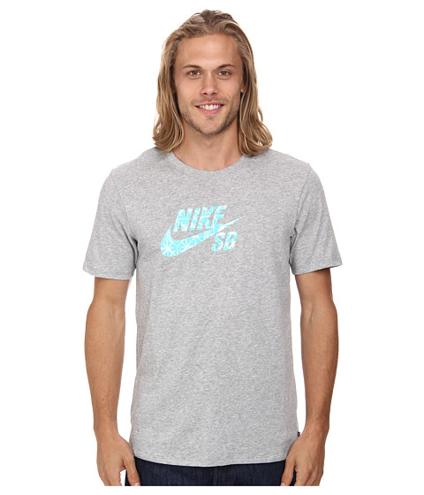 Nike SB - Dri-FIT SB Geo Dye Icon Tee (Dark Grey Heather/Light Retro) Men's T Shirt