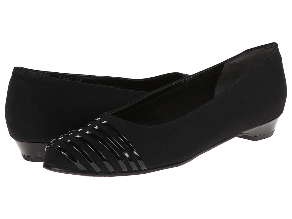 Rose Petals - Bev (Black Micro/Black Patent) Women's Dress Flat Shoes