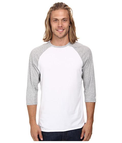 Nike SB - SB Skyline Dri-FIT 3/4 Crew (White/Dark Grey Heather/White) Men's T Shirt