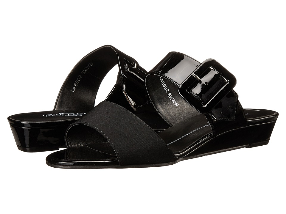 Rose Petals - Jada (Black Patent/Black Micro) Women's Sandals