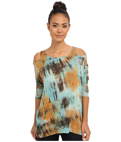 Culture Phit - Blair Cutout Arm Top (Light Blue) Women's Clothing