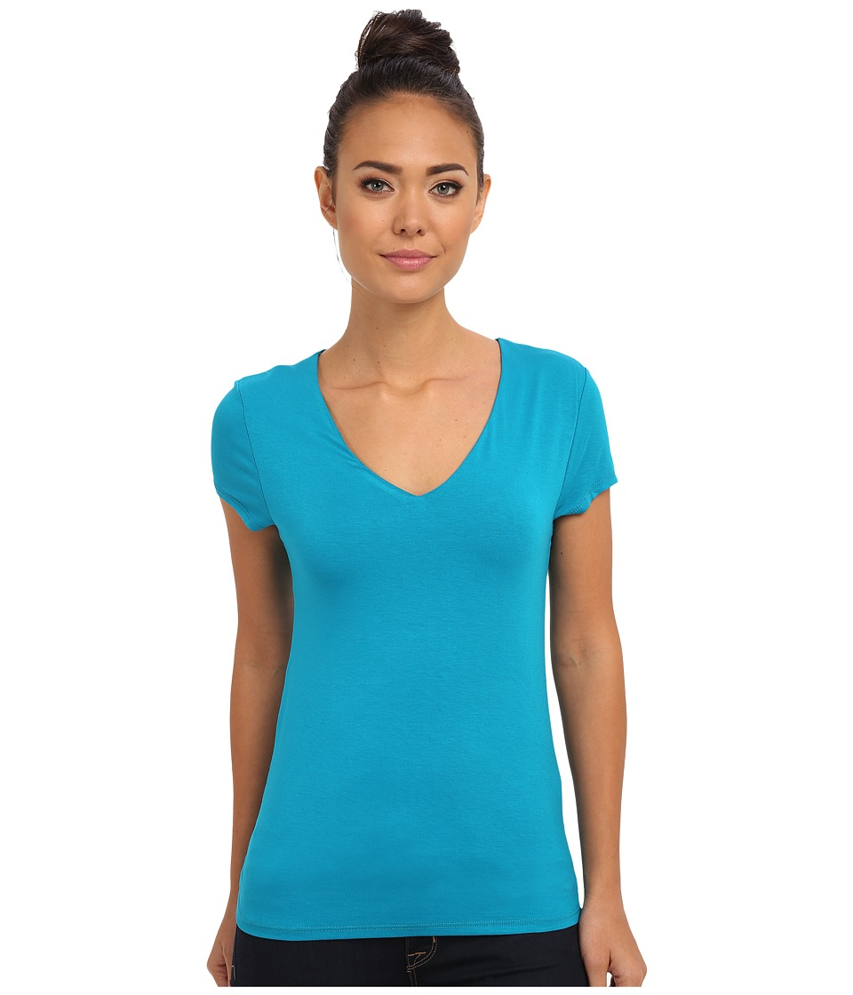 Culture Phit - Bianca V-Neck Top (Aqua) Women's Clothing