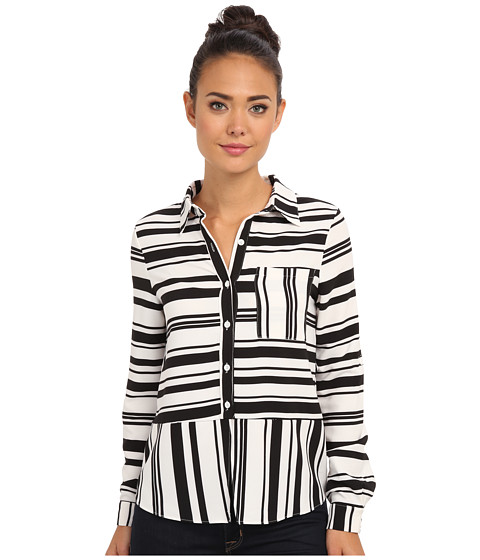 Brigitte Bailey - Jacqueline Long Sleeve Blouse (White/Black) Women's Blouse