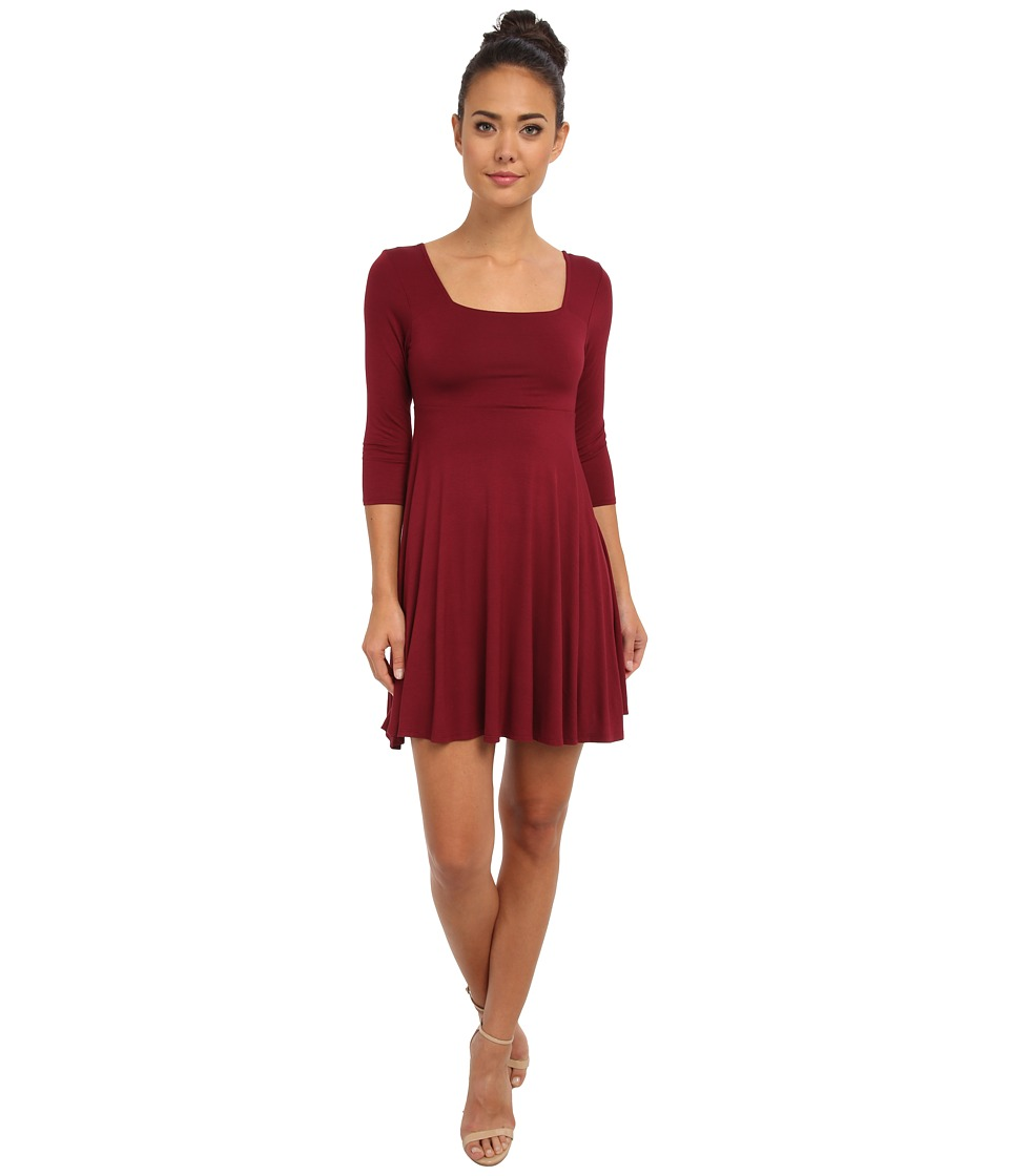 Gabriella Rocha - Dakota 3/4 Sleeve Dress (Burgundy) Women's Dress