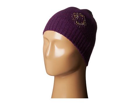 LAUREN by Ralph Lauren - RLL Deco Monogram Skull Cap (Purple Heather/Antique Gold) Knit Hats