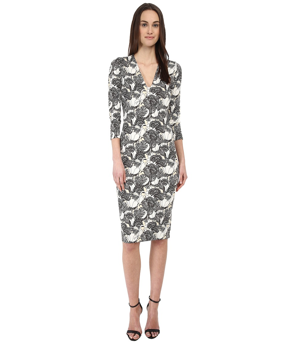 Just Cavalli - 3/4 Sleeve V-Neck Printed Dress (Vanilla Variant 1) Women's Dress