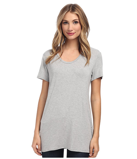 Culture Phit - Jewel Scoop Neck Top (Grey Heather) Women's Short Sleeve Pullover