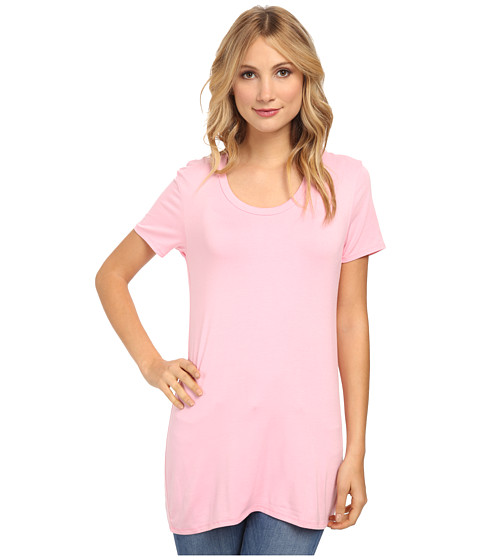 Culture Phit - Jewel Scoop Neck Top (Bubblegum Pink) Women's Short Sleeve Pullover