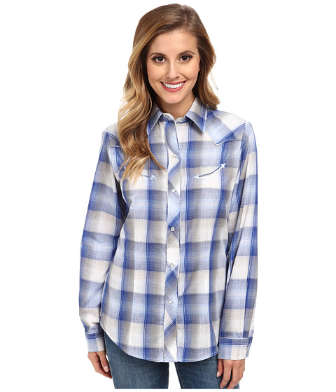 Roper - 9661 Electric Blue Stone Plaid (Blue) Women's Clothing