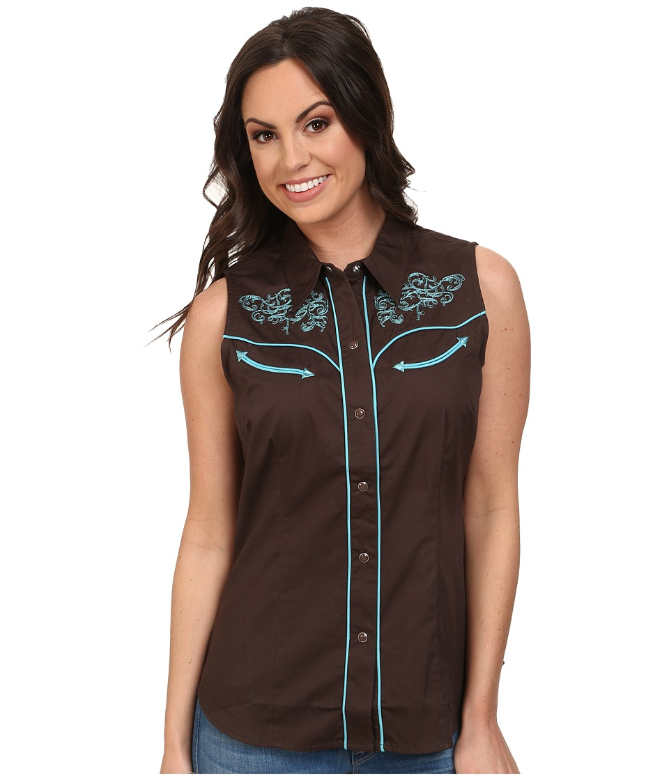 Roper - 100 Contrast Twill w/ Baroque Curves Embroidery (Brown) Women's Clothing