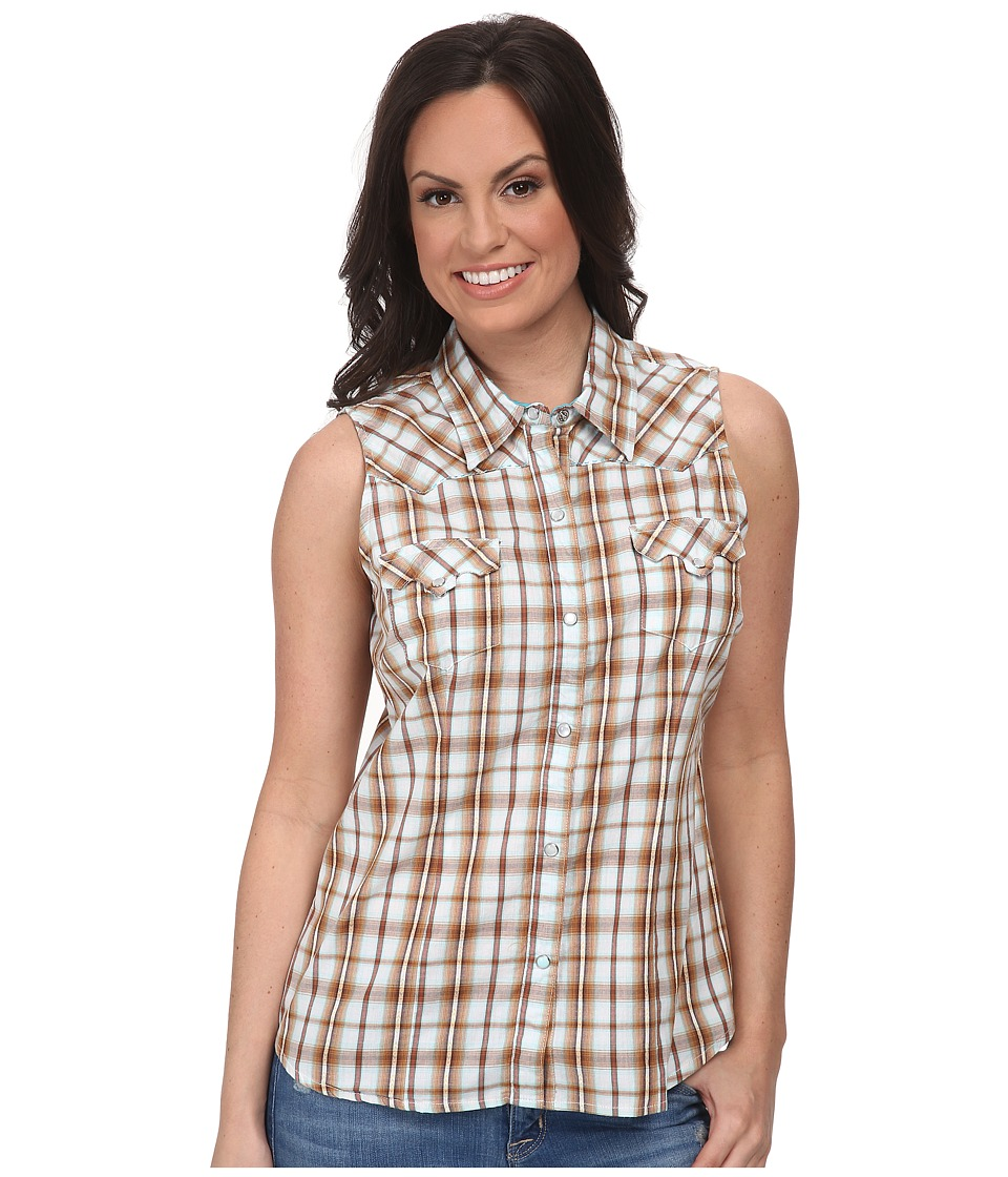 Roper - 9535 Dobby Plaid (Brown) Women's Clothing